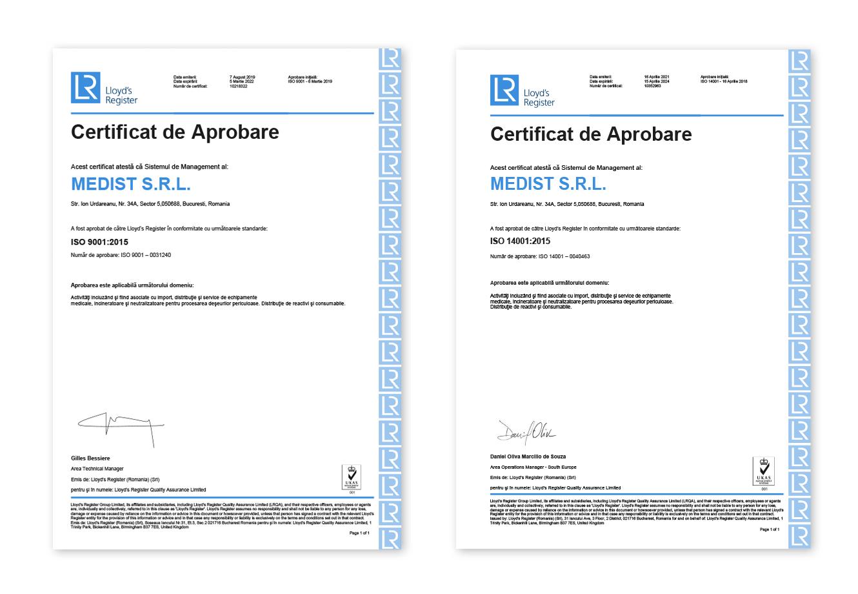 Lloyds ISO 9001 - ISO 18001 Medist Solutions